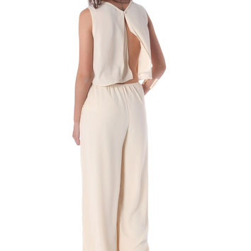 Jumpsuit in crepe with plunge back