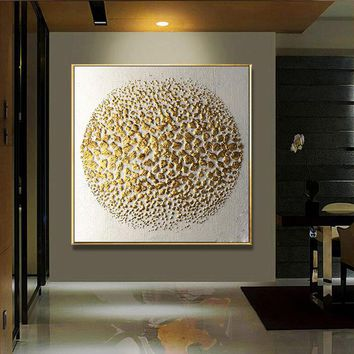 1 Panel HD Abstract Golden Embossed pattern Round Wall Art Picture Home Decoration Living Room Canvas Print Wall Picture