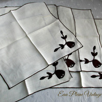Brown Floral Creme Napkins Set Six Vintage Cotton Linen Brown Edged NOS