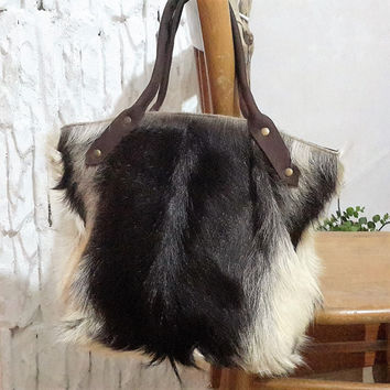 Goat Skin Hand Bag For Women // Real Goatskin Top Handle Fur Bag