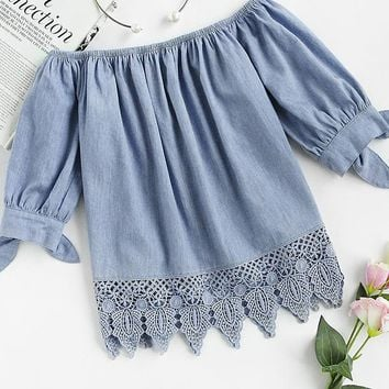 Blue Crochet Trim Bow Tie Cuff Chambray Top Casual Women Tops Boat Neck Half Sleeve Cute Blouse