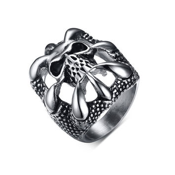 Ghost Era - Dragon Claw Skull Ring - Silver