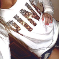 PINK Victoria's Secret Sequin Letter Pattern Loose Shirt Pullover Sweater Blouse Top
