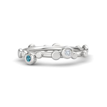 Sterling Silver Ring with Diamond & London Blue Topaz