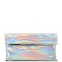 New Look Mobile | Silver Holographic Paper Bag Clutch