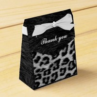 Black Fur, Leopard print, Tent Favor Box