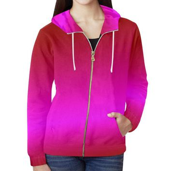 Pink Design 1 Women's All Over Print Full Zip Hoodie