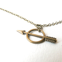 Artemis arrow and bow necklace ( brass antiqued, cheyenne, geometric, bohemian, goddess, tribal, native ) 13