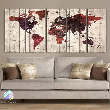 "XLARGE 30""x70"" 5 Panels 30""x14"" Ea Art Canvas Print Watercolor Brown Beige Old Map World Push Pin Travel Wall decor (framed 1.5"" depth)M1821"