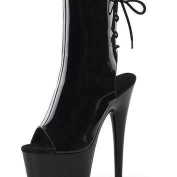 Platform Patent Leather Ankle Boots 7 Inch Heels-Stripper Boots