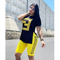 FENDI Fashion Woman Casual Print Short Sleeve Top Shorts Set Two Piece Yellow/Black