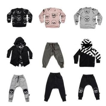 Nununu 2018 New Boys Clothes Skull Robot Pattern T-shirts Pants Autumn Winter Baby Girls Tops Tees Coats Kids Clothes Set