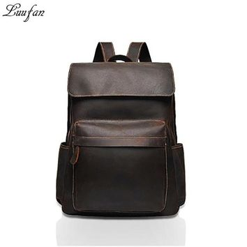 Vintage Crazy horse leather Men Backpack genuine cowhide leather women rucksack daypack laptop bags travel bag for man