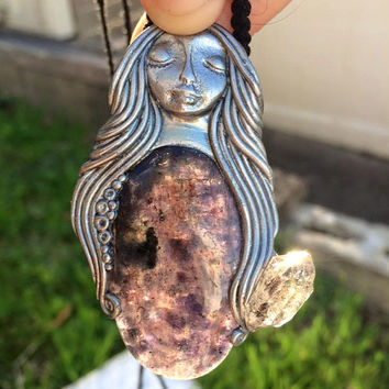 SUNSTONE in IOLITE with HERKIMER Diamond Goddess Nymphish ooak Necklace gypsy spiritual mermaid siren Tourmaline in Quartz beading Melody