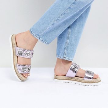 ASOS DESIGN Jewella Embellished Espadrille Sliders at asos.com