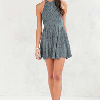 Ecote Patterned High-Neck Keyhole Romper - Urban Outfitters