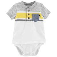 Baby Boy OshKosh B'gosh® Striped Mock Layer Henley Bodysuit | null