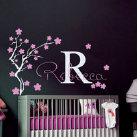 Wall Decals Vinyl Sticker Decal Home Decor Art Murals Initial Personalized Custom Name Monogram Baby Girl  Nursery Bedroom Tree Sakura MM18