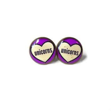 ONETOW Unicorns Conversation Heart Stud Earrings - Pastel Goth & Soft Grunge Funny Pop Cultur