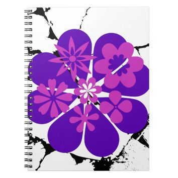purple and pink flowers notebook