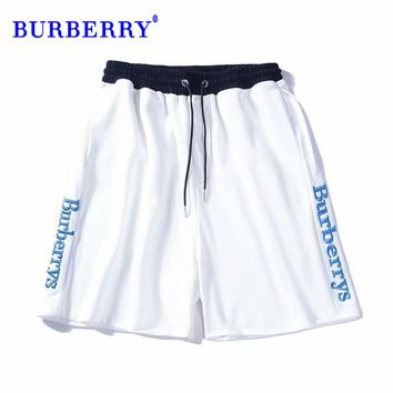 Burberry Letter embroidery contrast color drawstring shorts fashion wild casual sweatpants White Sides Open Mark