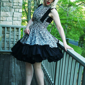 Suspender Jumper Skirt in Damask Cotton Dress-Custom to Order