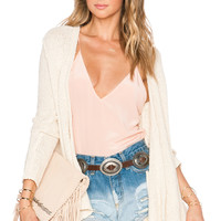 Free People Shark Hem Cardigan in Cream