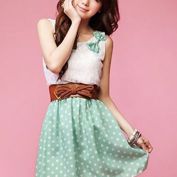 Polka Dot Bow Strap and Leather Belt Lace Mini Dress