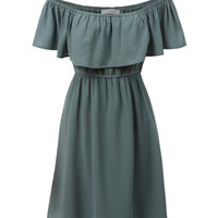 LE3NO Womens Flowy Off Shoulder Chiffon Ruffle Dress