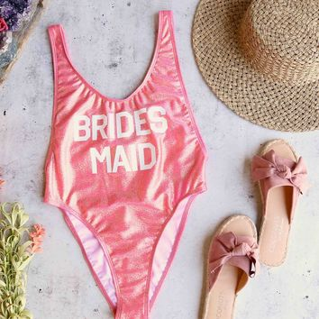 grl gng collection - bride's squad/bridesmaid high cut vintage one piece - more colors