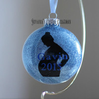 Personalized Pregnancy Silhouette Christmas Ornament - 3' flat surface round ornament with silhouette and baby's name and birth year