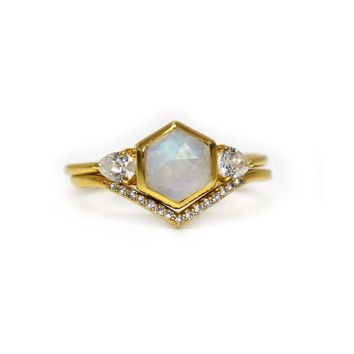 Rainbow Moonstone and Topaz Regal Bisoux Ring