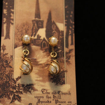 Vintage Pearl Drop Earrings 12kt Gold Filled Screw on signed H.G.