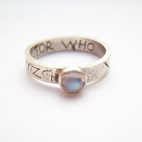 Doctor Who silver and moonstone etched ring
