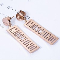 MOSCHINO Popular Women Simple Hollow Letter Pendant Earrings Accessories Jewelry