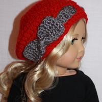 red and grey crochet hat with bow, 18 inch doll clothes, American girl, Maplelea