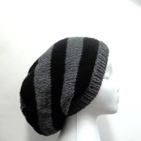 Slouchy beanie for men and women black gray handmade hat  4717