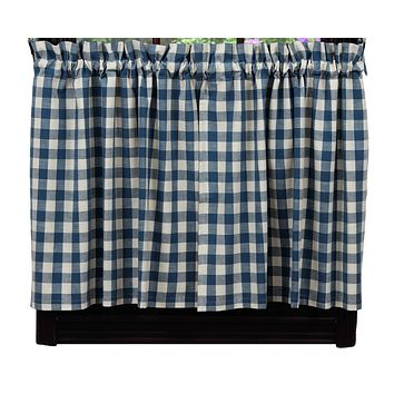 Picnic Blue Buffalo Check Tier Curtains