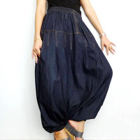 Denim Cotton Drop Crotch Long Trouser,Unisex Baggy Harem pants,Jeans Dark Blue Lightweight (pants-PJ1).