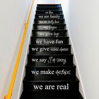 Wall Decal Vinyl Sticker Decals Art Decor Design Sign Words Quote Stairs We are Family Love Rules In this House Home Bedroom Dorm (r1268)