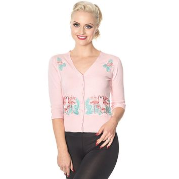 Banned 50's Vintage Tropical Paradise Pink Flamingo Cardigan in Baby Pink