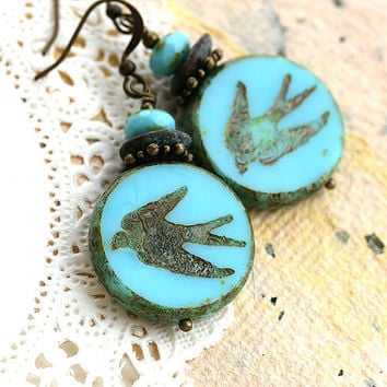 Bird earrings, Turquoise Earrings, Swallow Earrings, Birds jewelry, Beaded Glass Earrings, Natural Jewelry, Blue birds