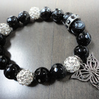Madagascar Agate Gemstone and Crystal Pave Beaded Stacking Bracelet With Butterfly Charm