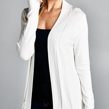 Basic Pocket Cardigan White