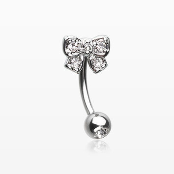 Dainty Bow-Tie Sparkle Eyebrow Curved Barbell Ring