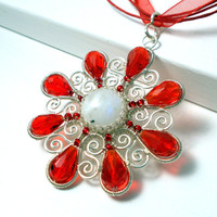 Winter Snowflake Pendant Necklace, Wire Wrapped Flower Jewelry
