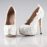 Elegant ivory lace high heels, platform lace shoes handmade wedding shoes , party shoes prom pumps