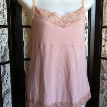 ELLE Must Have Cami Womens Peach Lacy Cami Shirt Shell Top L Cotton Modal