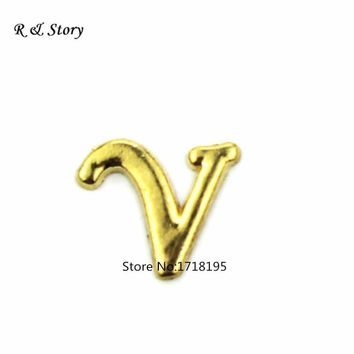 Alphabet Letter Floating Charms, fit Floating Locket, Gold Alphabet Letter V Floating Locket LFC_1760