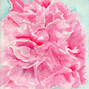 Original  Coral Peony Watercolor Painting, 9 x 12